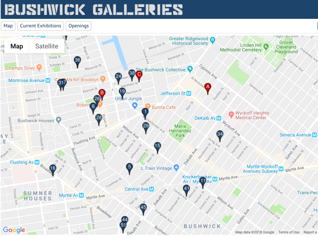 bushwick gallery map